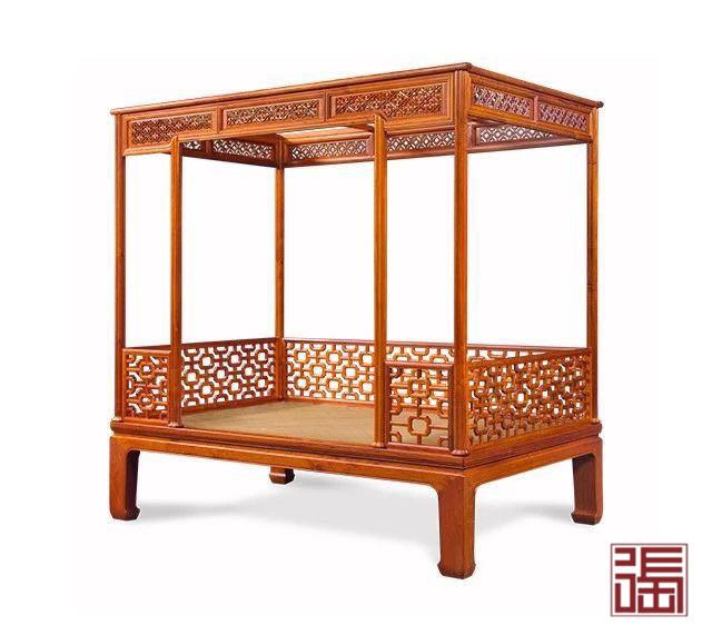 六柱十字海棠纹架子床(藤面)