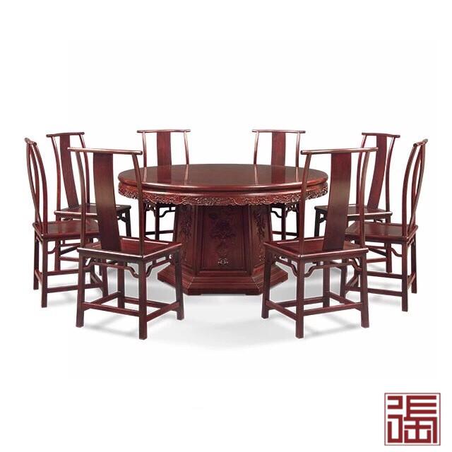 清式六角底座圆餐桌小(9件套)